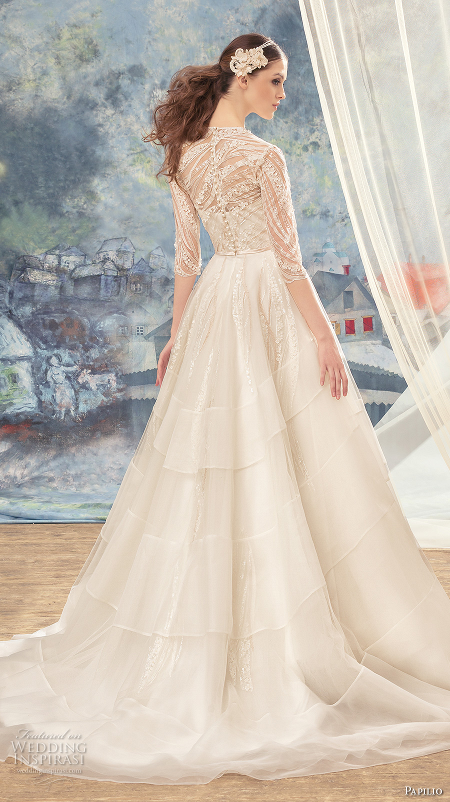 papilio 2017 bridal half sleeves illusion v sweetheart neckline heavily embellished bodice layered skirt romantic a  line wedding dress covered lace back sweep train (cedarbird) bv