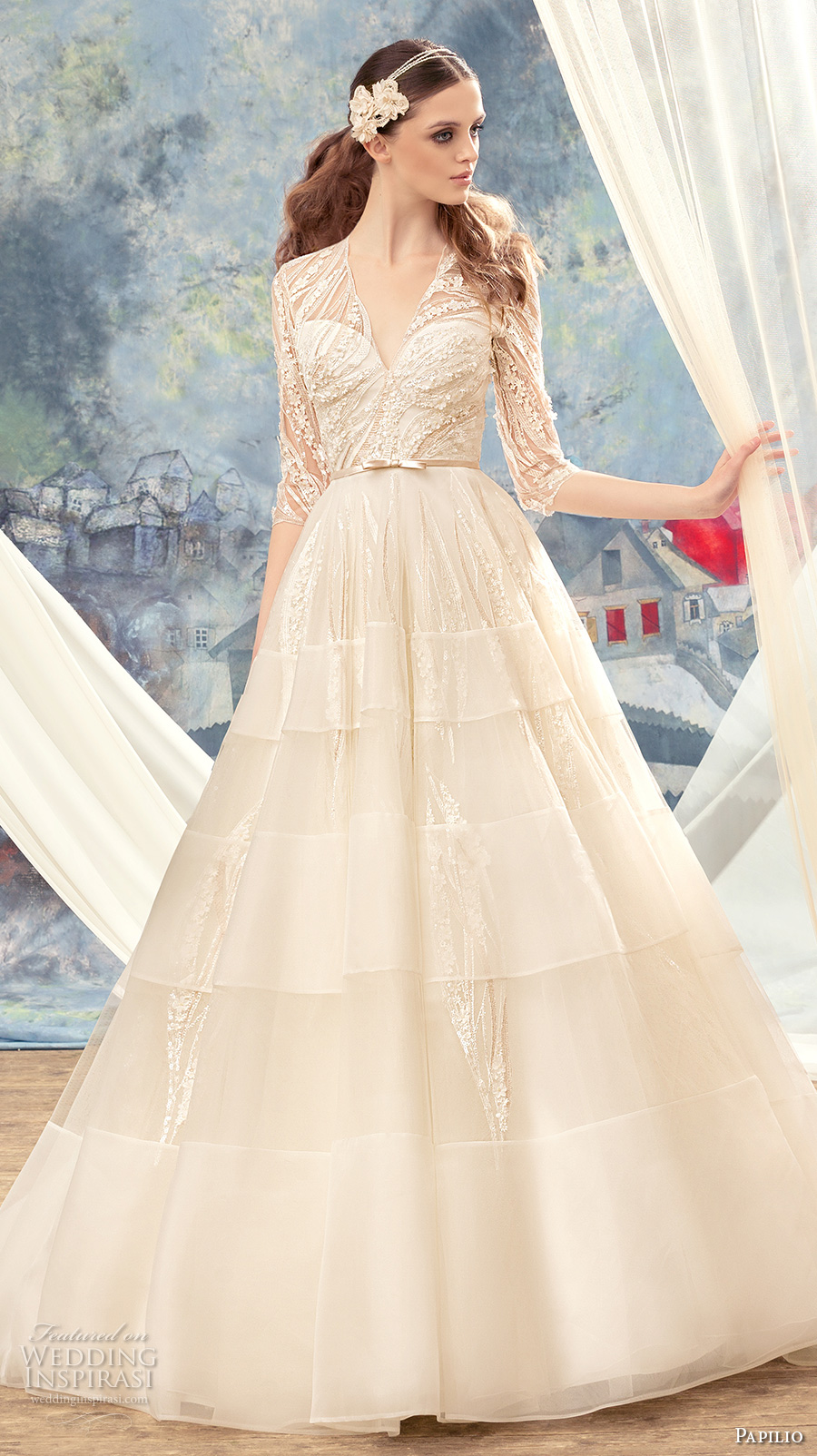 papilio 2017 bridal half sleeves illusion v sweetheart neckline heavily embellished bodice layered skirt romantic a  line wedding dress covered lace back sweep train (cedarbird) mv