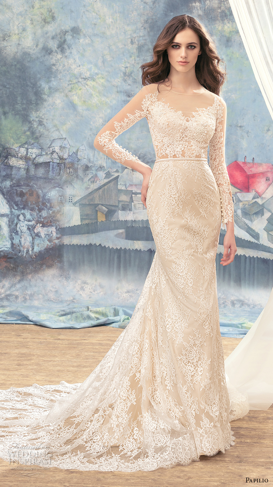 papilio 2017 bridal long sleeves illusion jewel sweetheart neckline full embellishement elegant sheath wedding dress lace back chaple train (eagle) mv