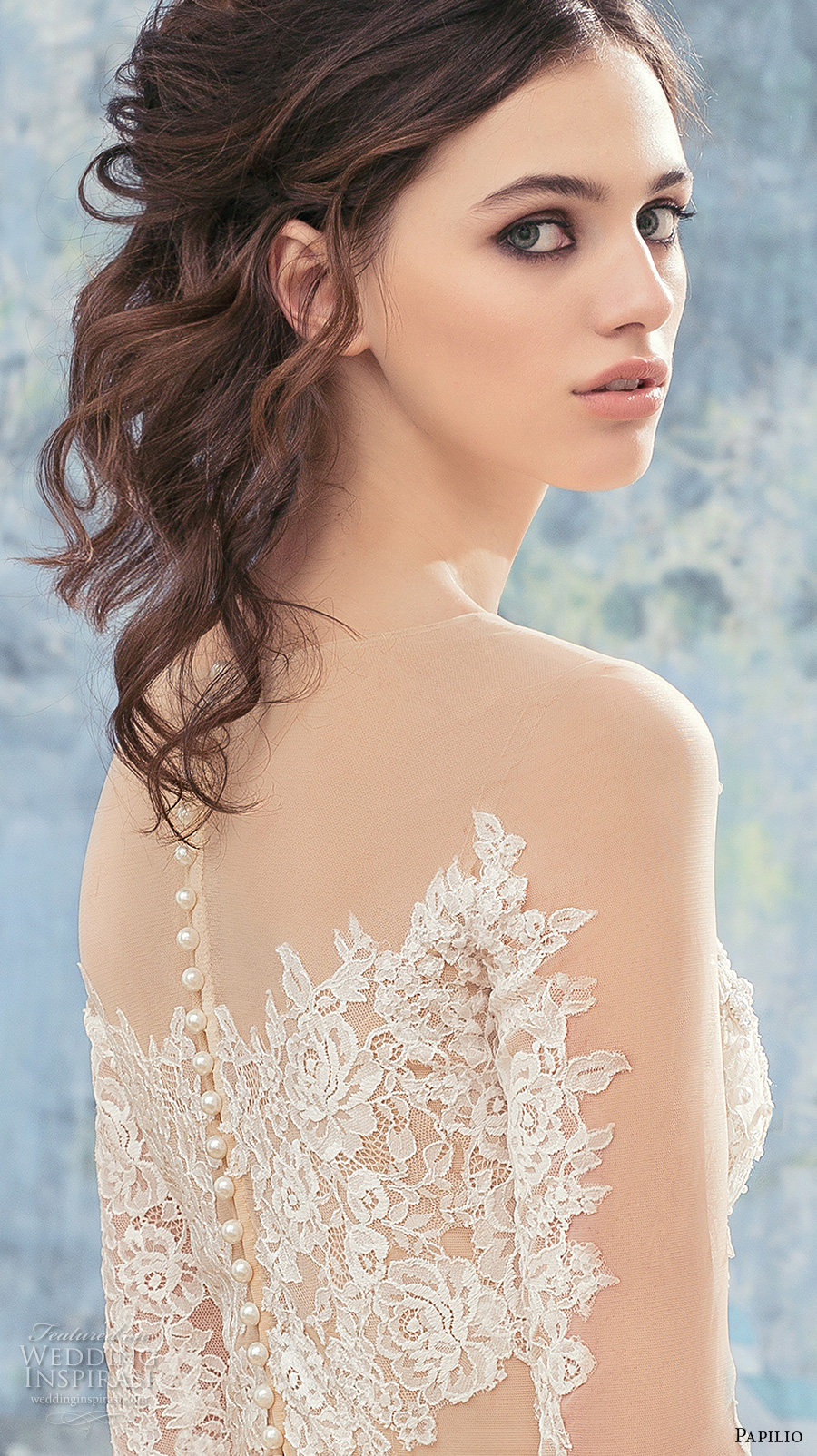 papilio 2017 bridal long sleeves illusion jewel sweetheart neckline full embellishement elegant sheath wedding dress lace back chaple train (eagle) zbv