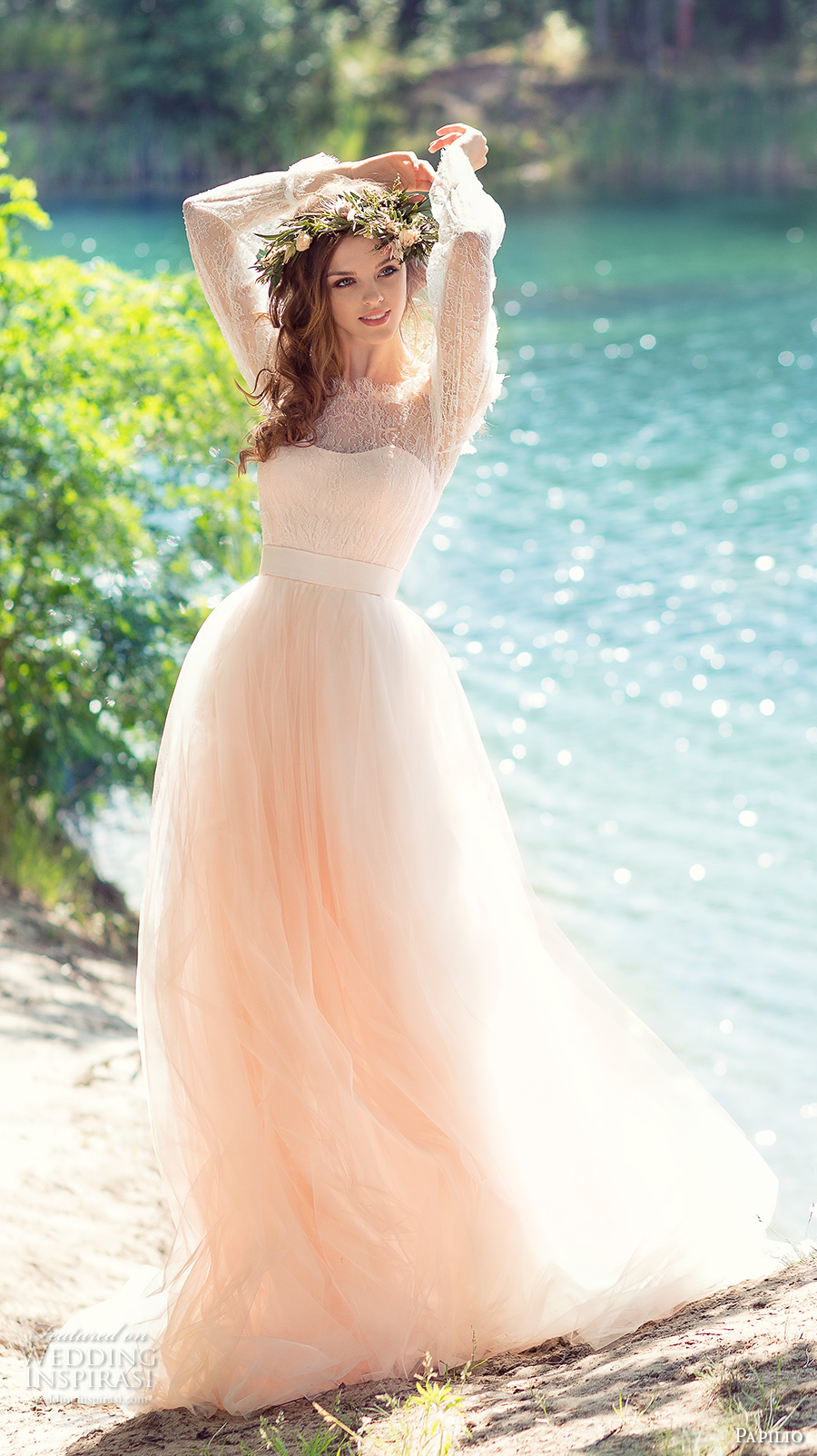papilio 2017 bridal long sleeves off the shoulder sweetheart neckline heavily embellished bodice peach color romantic a  line wedding dress chapel train (cockatiel) mv