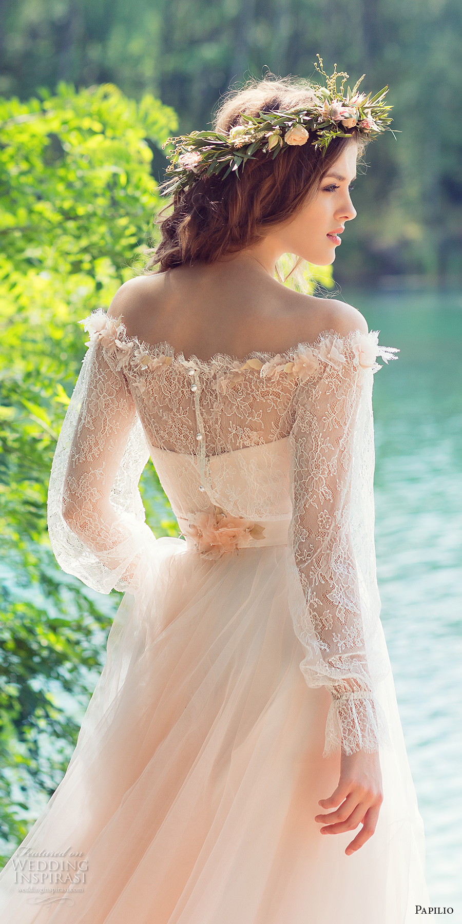 papilio 2017 bridal long sleeves off the shoulder sweetheart neckline heavily embellished bodice peach color romantic a  line wedding dress chapel train (cockatiel) zbv