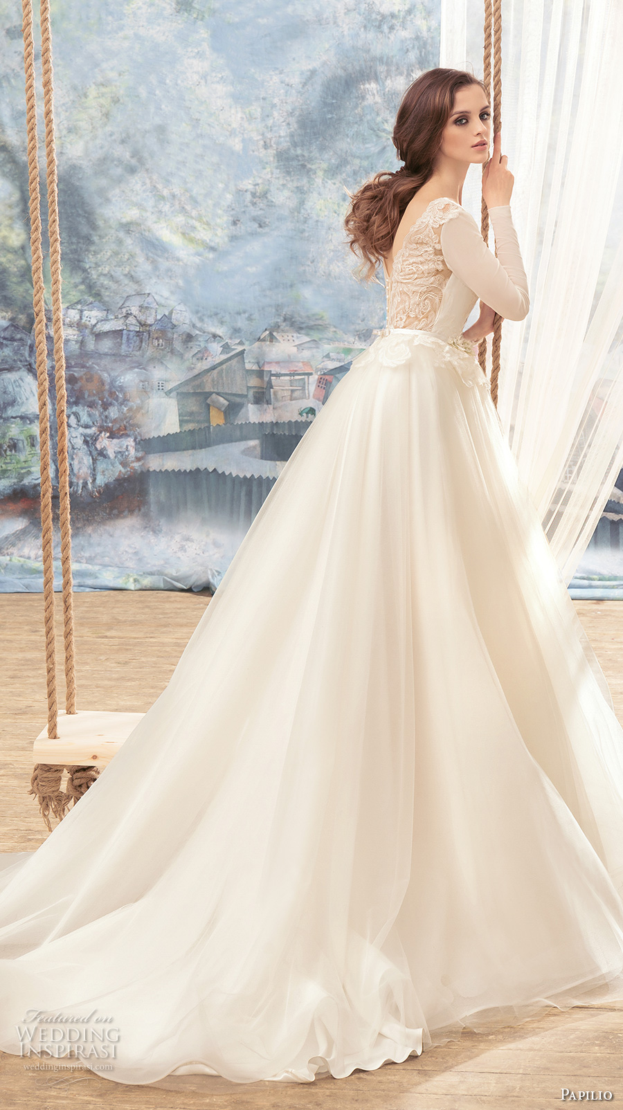 papilio 2017 bridal long sleeves scoop neckline lightly embellished bodice tulle skirt romantic a  line wedding dress v back chapel train (swan) bv
