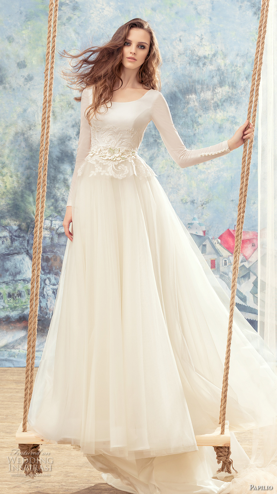 papilio 2017 bridal long sleeves scoop neckline lightly embellished bodice tulle skirt romantic a  line wedding dress v back chapel train (swan) mv
