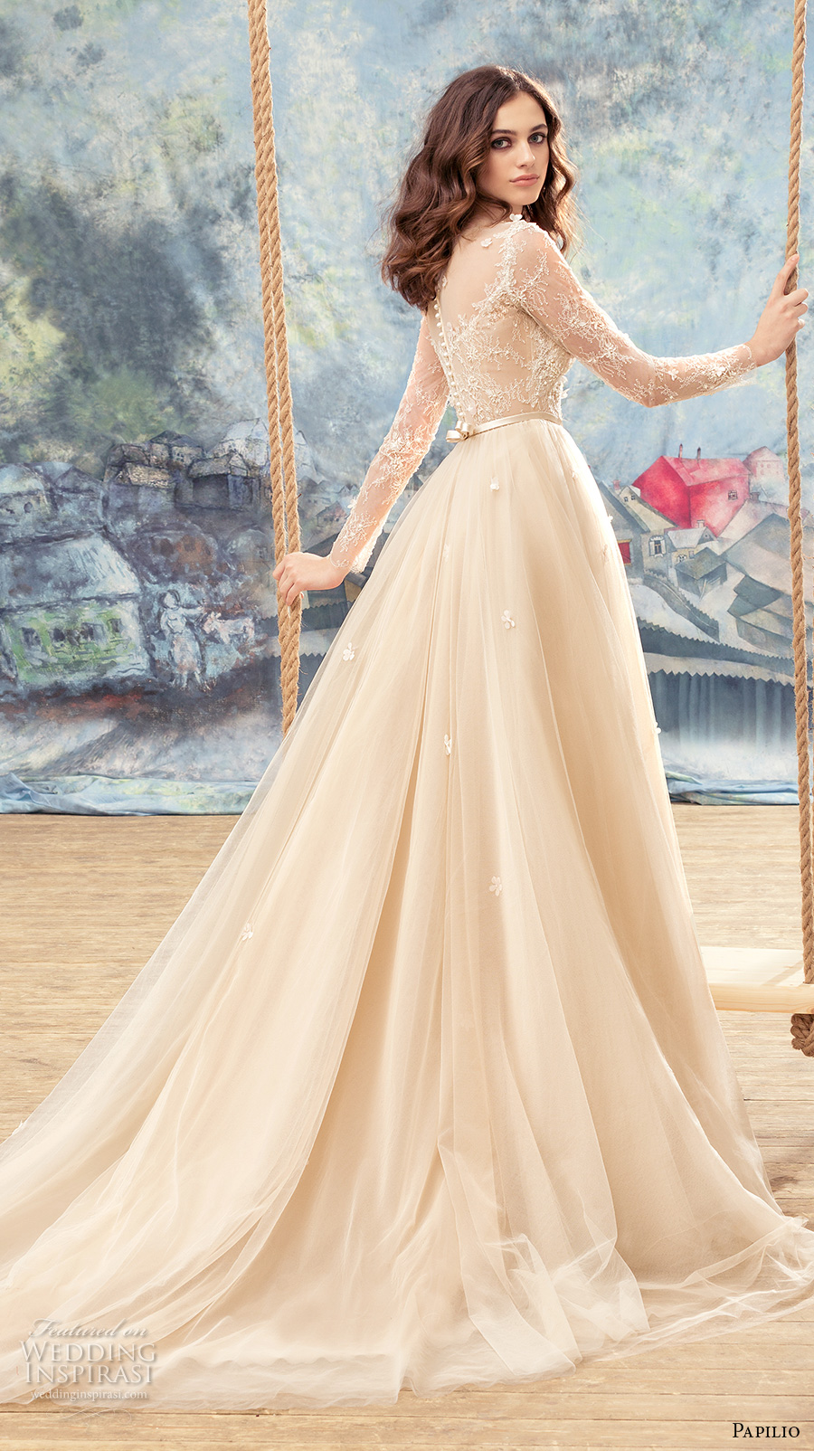 papilio 2017 bridal long sleeves sheer bateau sweetheart neckline heavily embellished bodice ivory color romantic a  line wedding dress sheer back chapel train (crane) bv