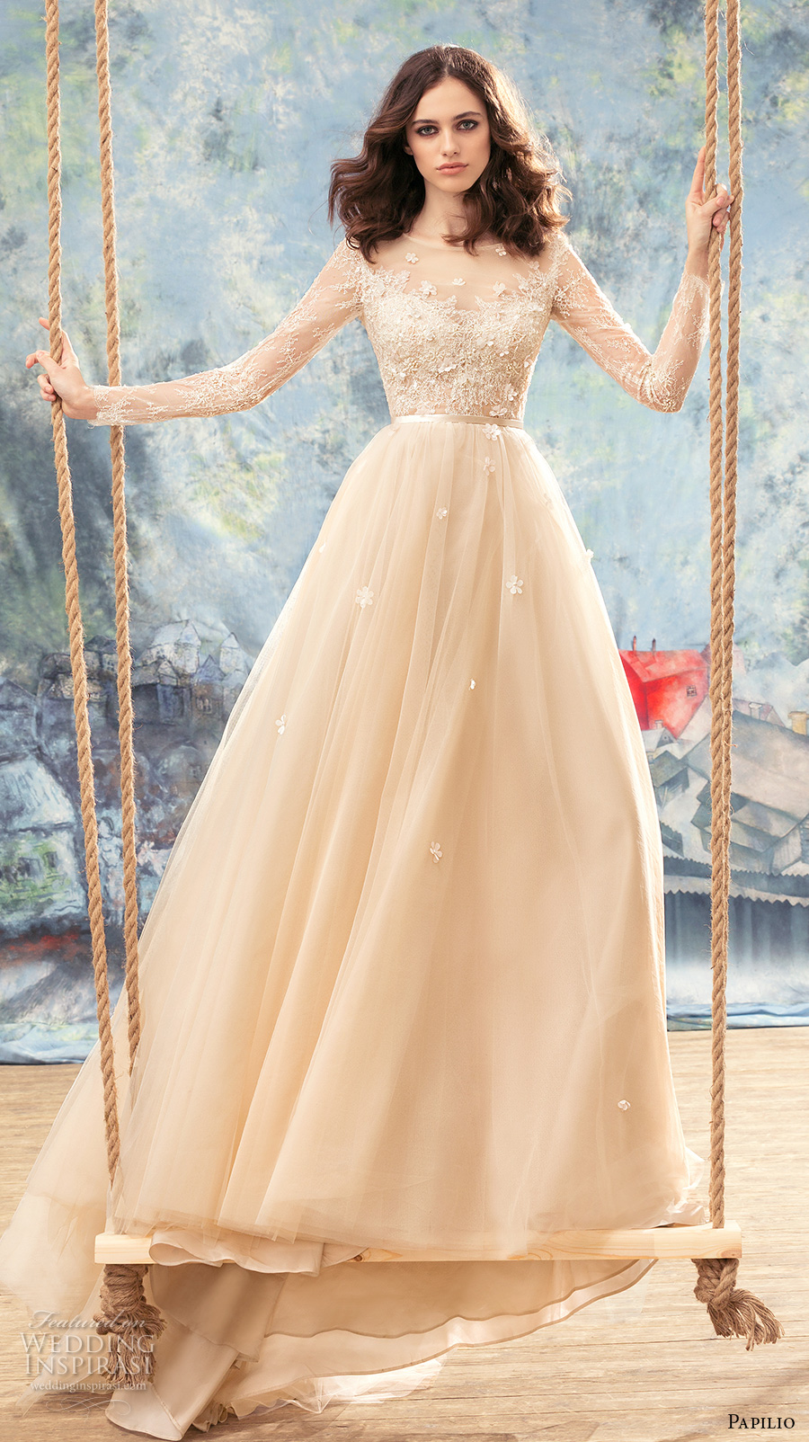 papilio 2017 bridal long sleeves sheer bateau sweetheart neckline heavily embellished bodice ivory color romantic a  line wedding dress sheer back chapel train (crane) mv