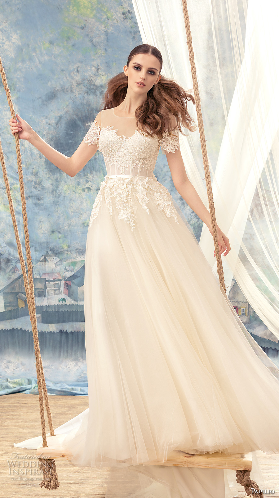 papilio 2017 bridal short sleeves illusion jewel sweetheart neckline heavily embellished bodice bustier romantic a  line wedding dress sheer back chapel train (robin) mv