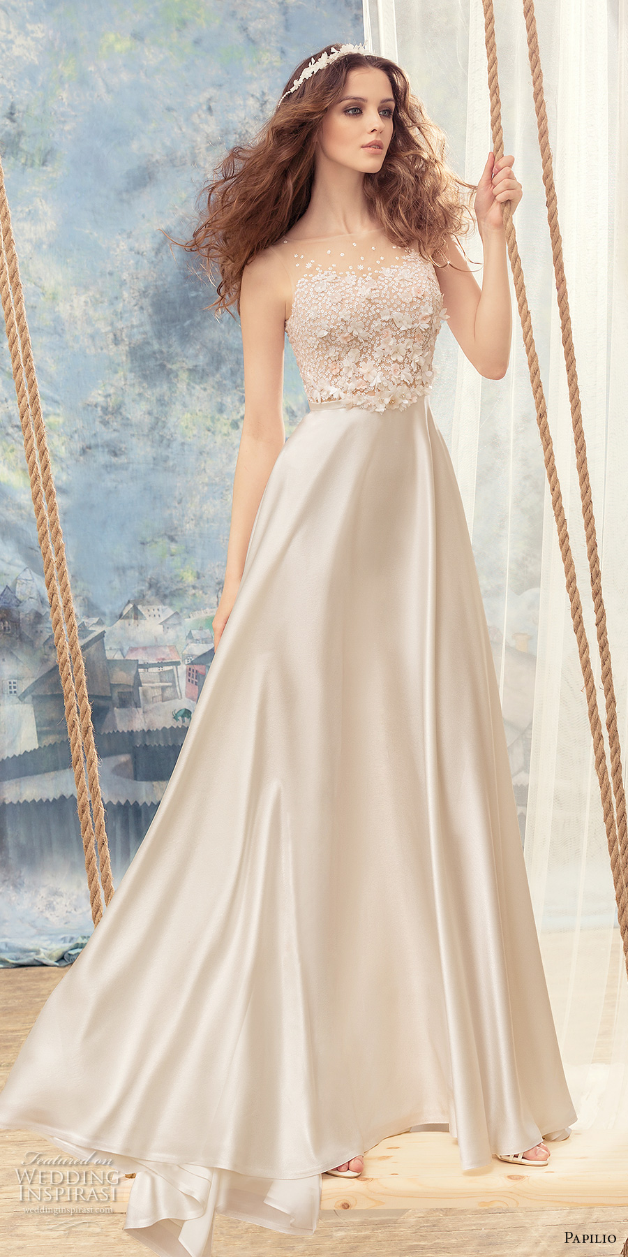 papilio 2017 bridal sleeveless bateau neckline heavily embellished bodice satin skirt romantic modiified a  line wedding dress sweep train (skylark) mv