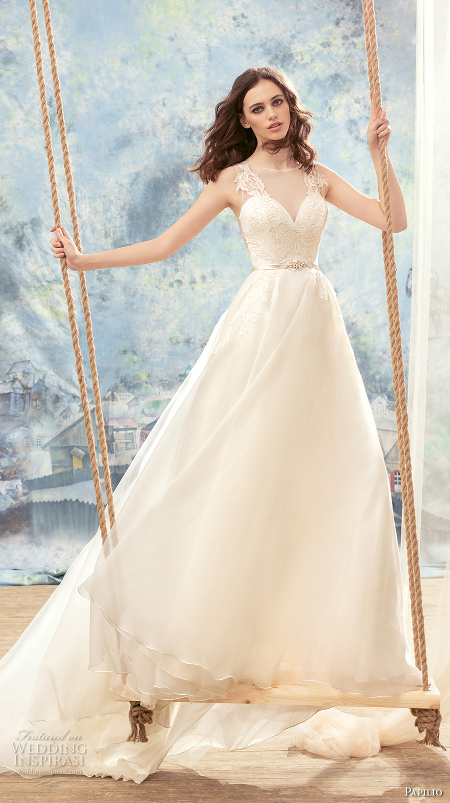 papilio 2017 bridal sleeveless illusion jewel deep sweetheart neckline heavily embellished bodice romantic a  line wedding dress covered lace back chapel train (gove) mv