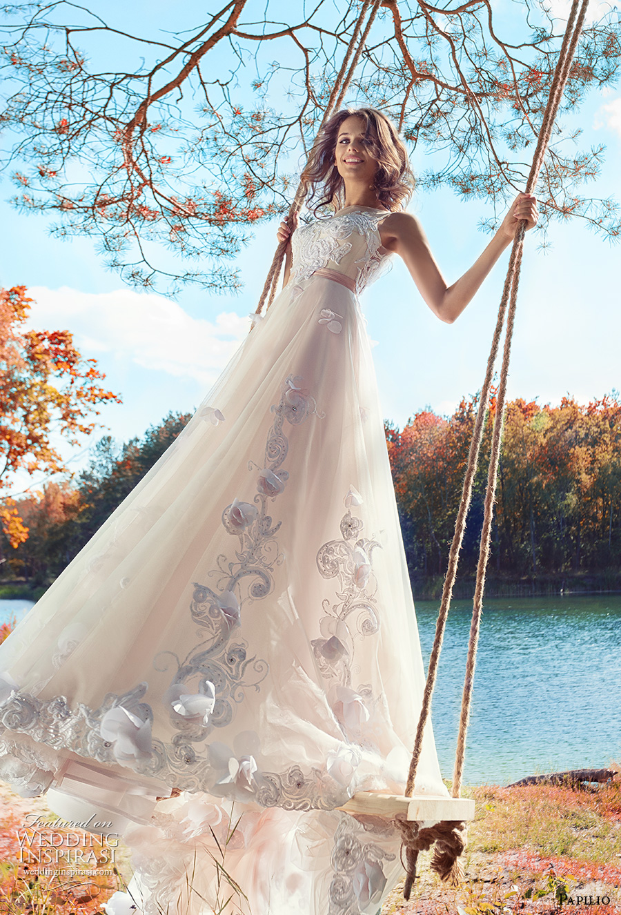 papilio 2017 bridal sleeveless sheer jewel neckline heavily embellished bodice tulle skirt romantic blush color modified a  line wedding dress open v back long train (swamphen) mv