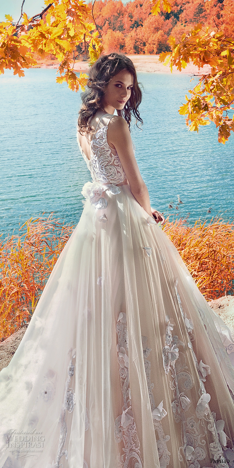 papilio 2017 bridal sleeveless sheer jewel neckline heavily embellished bodice tulle skirt romantic blush color modified a  line wedding dress open v back long train (swamphen) zbv