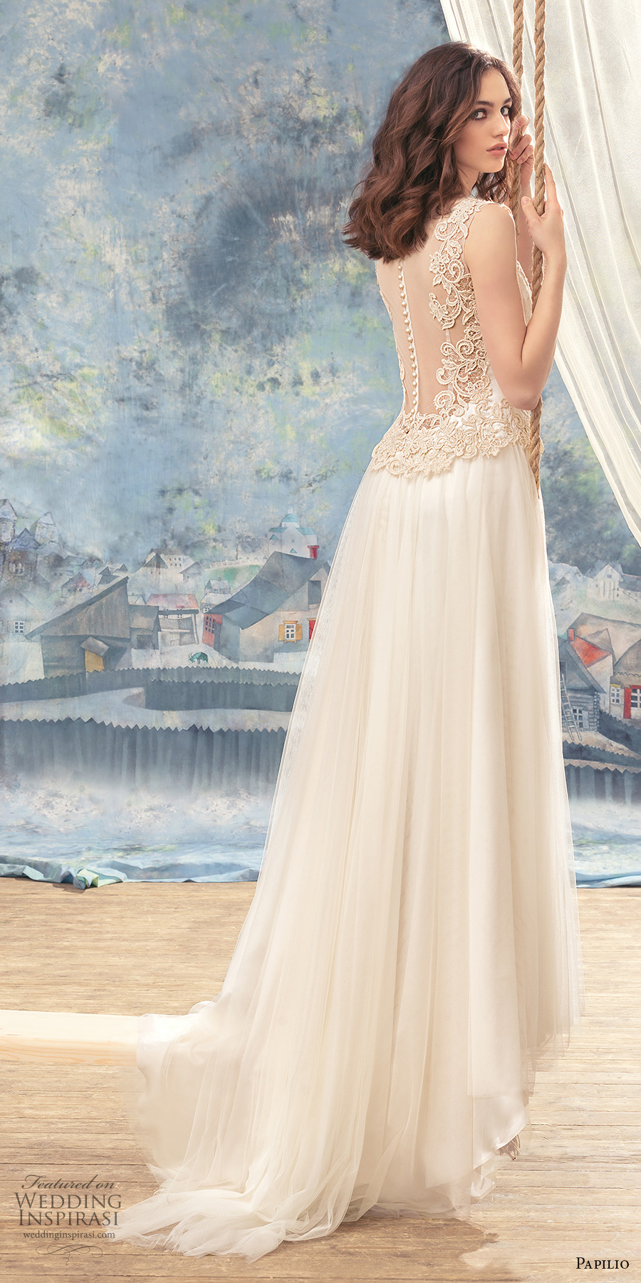 papilio 2017 bridal sleeveless thick embroidered strap sweetheart neckline heavily embellished bodice romantic modified a  line wedding dress sheer back chapel train (trogon) bv