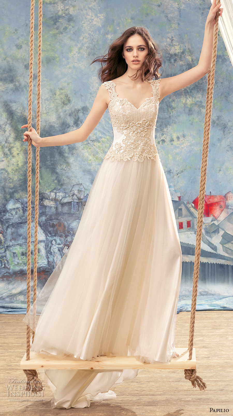 papilio 2017 bridal sleeveless thick embroidered strap sweetheart neckline heavily embellished bodice romantic modified a  line wedding dress sheer back chapel train (trogon) mv