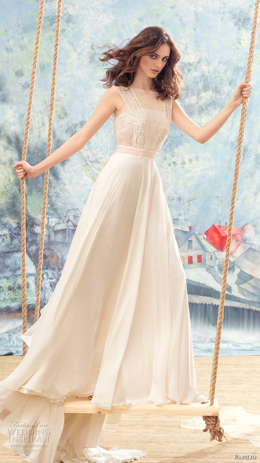 papilio 2017 bridal sleeveless thick strap straight across neckline heavily embellished bodice romantic modified a  line wedding dress chapel train (oriole) mv