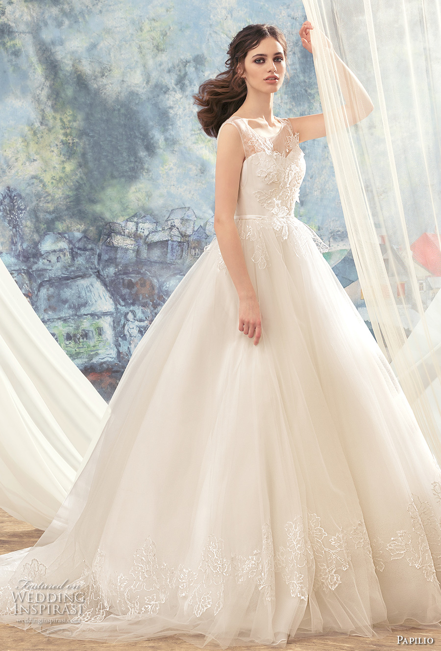 papilio 2017 bridal sleeveless thick strap sweetheart neckline heavily embellished bodice romantic princess ball gown wedding dress chapel train (hummingbird) mv