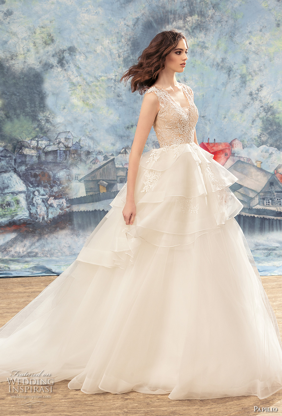 papilio 2017 bridal sleeveless v neck heavily embellished bodice layered skirt princess ball gown wedding dress covered lace back chapel train (peacock) mv