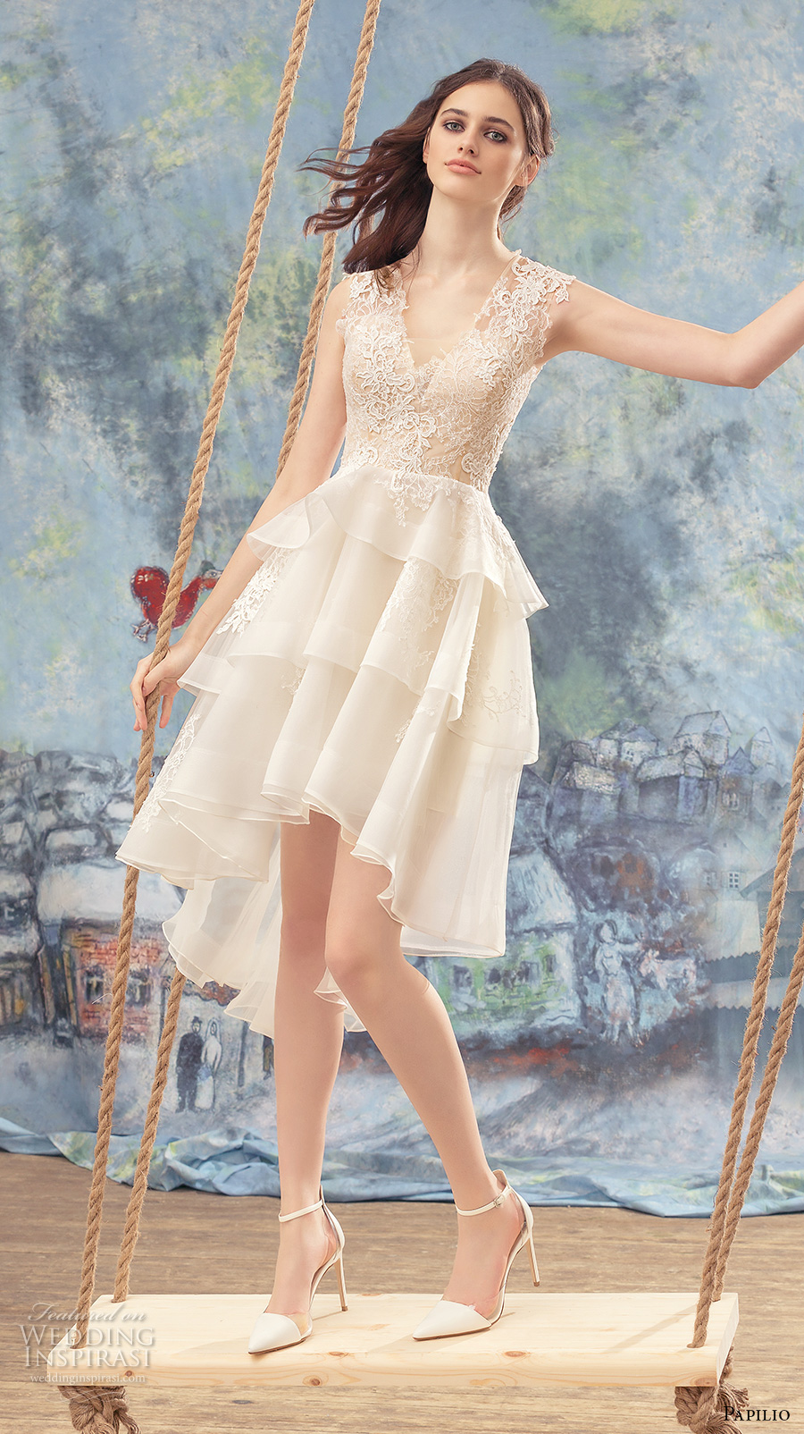 papilio 2017 bridal sleeveless v neck heavily embellished bodice layered skirt romantic above the knee short wedding dress covered lace back (peacock) mv