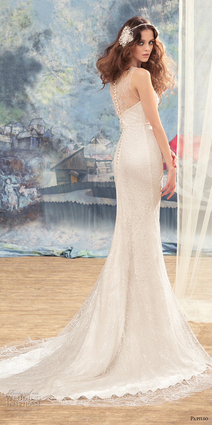 papilio 2017 bridal sleeveless v sweetheart neck full embellishment elegant sheath wedding dress lace back chapel train (tesia) bv