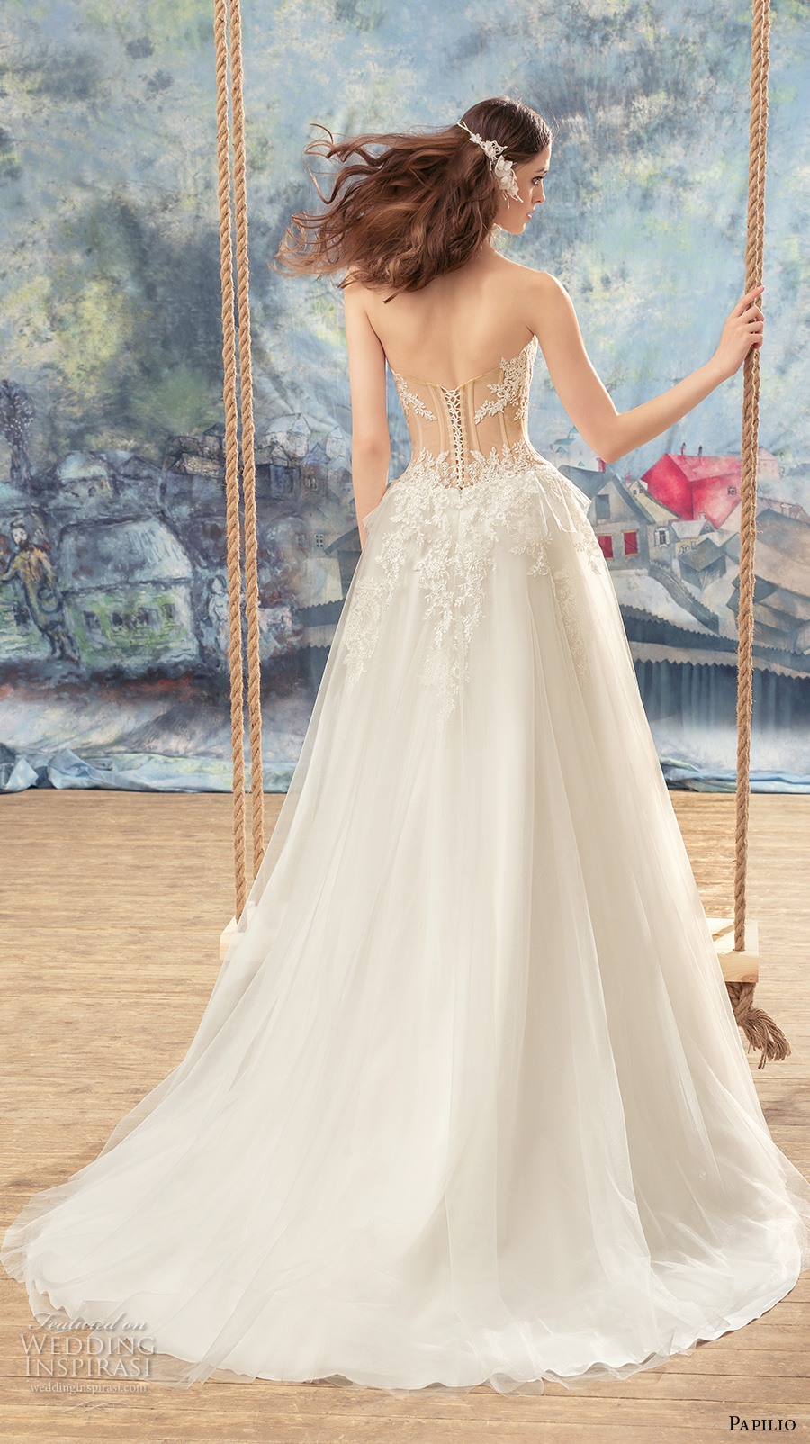 papilio 2017 bridal strapless sweetheart neckline heavily embellished bodice bustier sexy a  line wedding dress chapel train (myzomela) bv