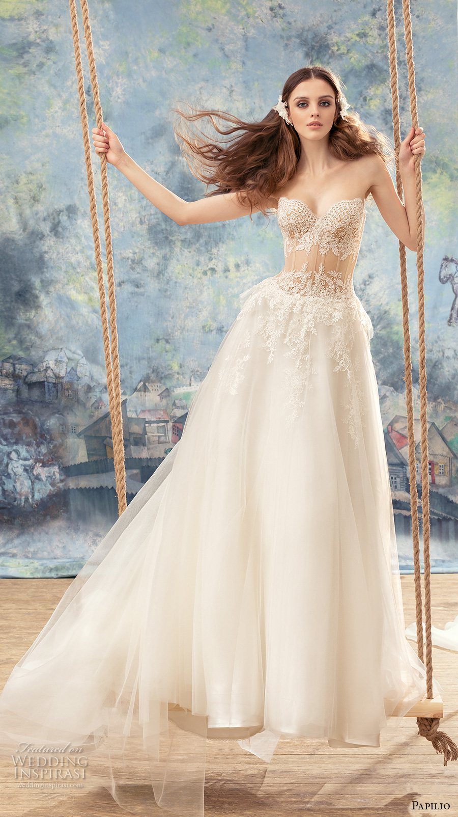 papilio 2017 bridal strapless sweetheart neckline heavily embellished bodice bustier sexy a  line wedding dress chapel train (myzomela) mv
