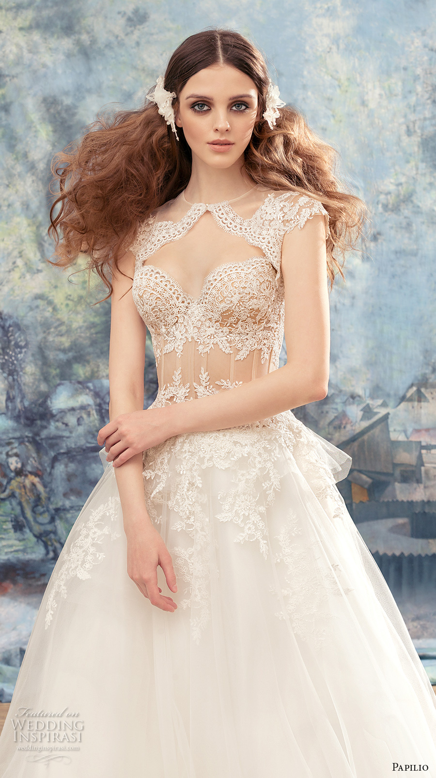 papilio 2017 bridal strapless sweetheart neckline heavily embellished bodice bustier sexy a  line wedding dress chapel train (myzomela) zv