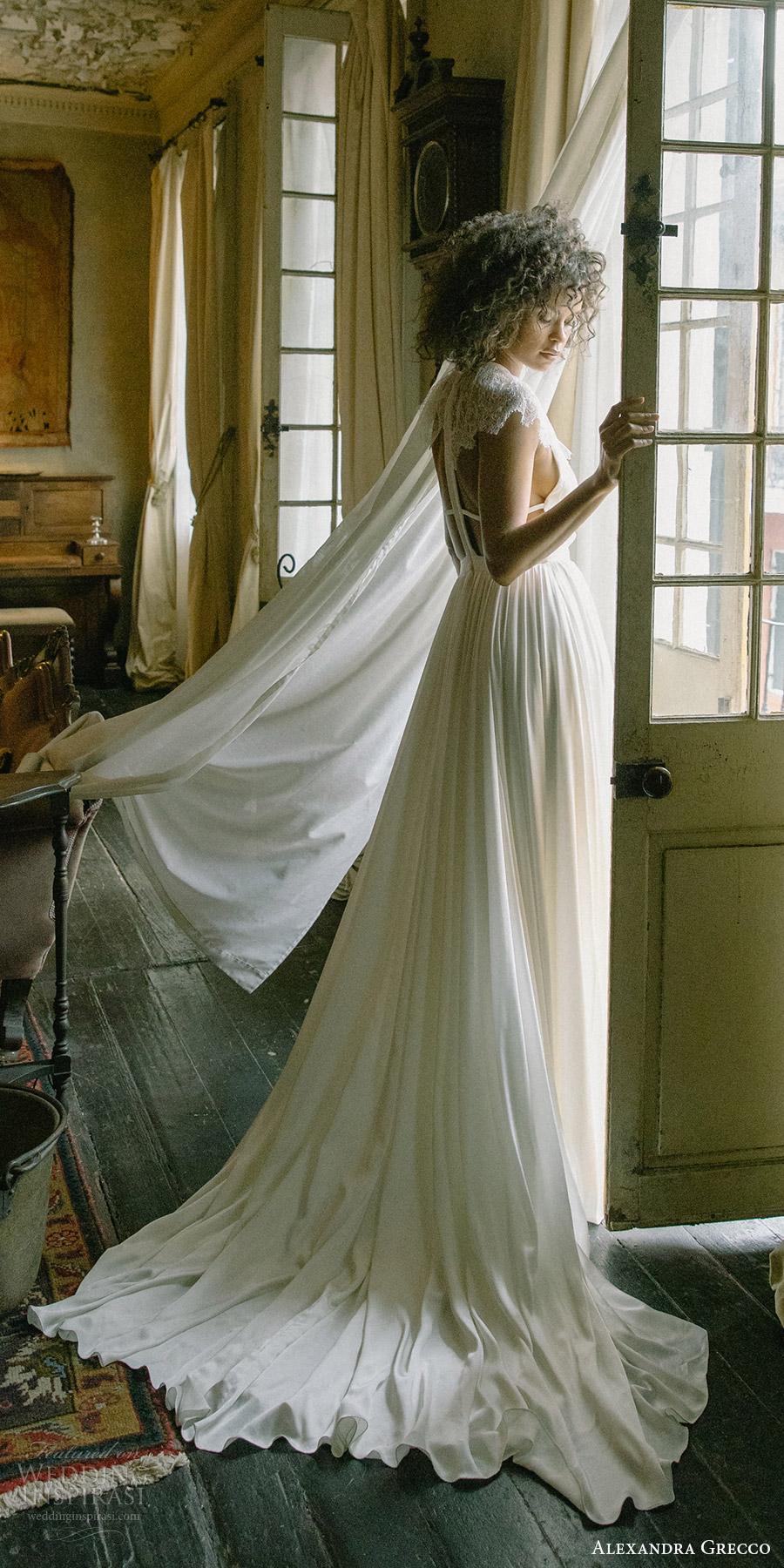 alexandra grecco fall 2017 bridal illusion cap sleeves jewel neck keyhole a line wedding dress (paloma) bv open back train