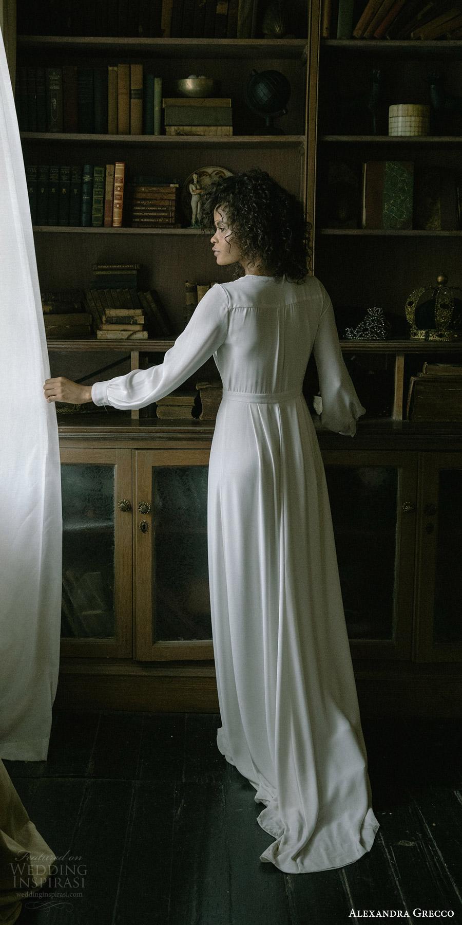 alexandra grecco fall 2017 bridal long sleeves deep v neck minimal embellishment a line wedding dress (edith) bv