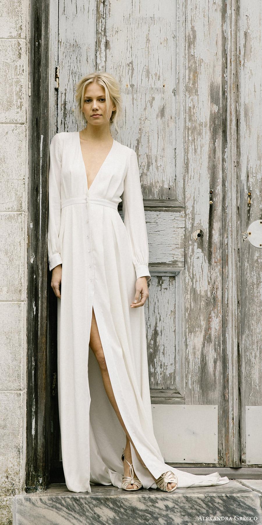 alexandra grecco fall 2017 bridal long sleeves deep v neck minimal embellishment a line wedding dress (edith) fv