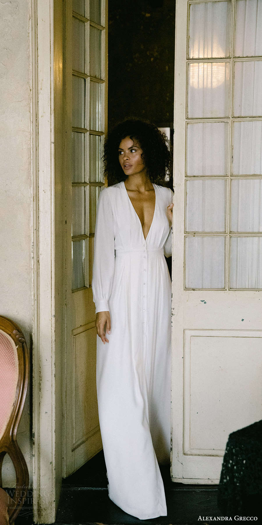 alexandra grecco fall 2017 bridal long sleeves deep v neck minimal embellishment a line wedding dress (edith) mv