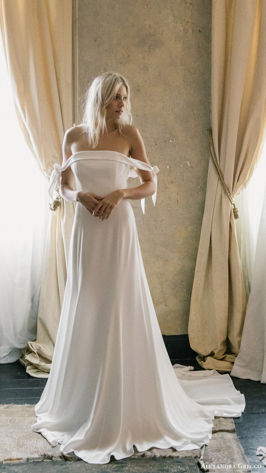 alexandra grecco fall 2017 bridal off shoulder straight across a line wedding dress (etienne) mv