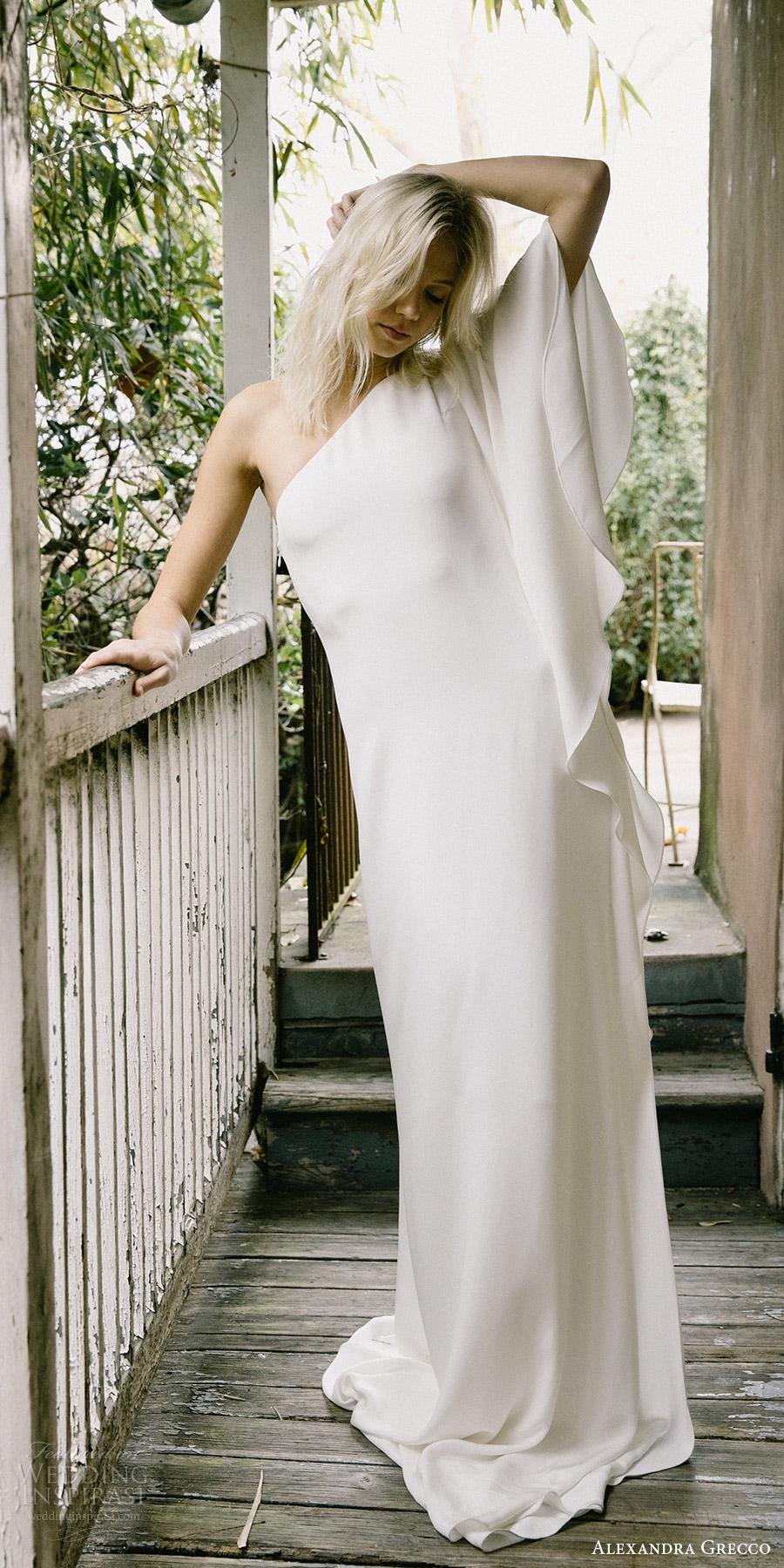 alexandra grecco fall 2017 bridal one shoulder unembellished column wedding dress (orla) mv