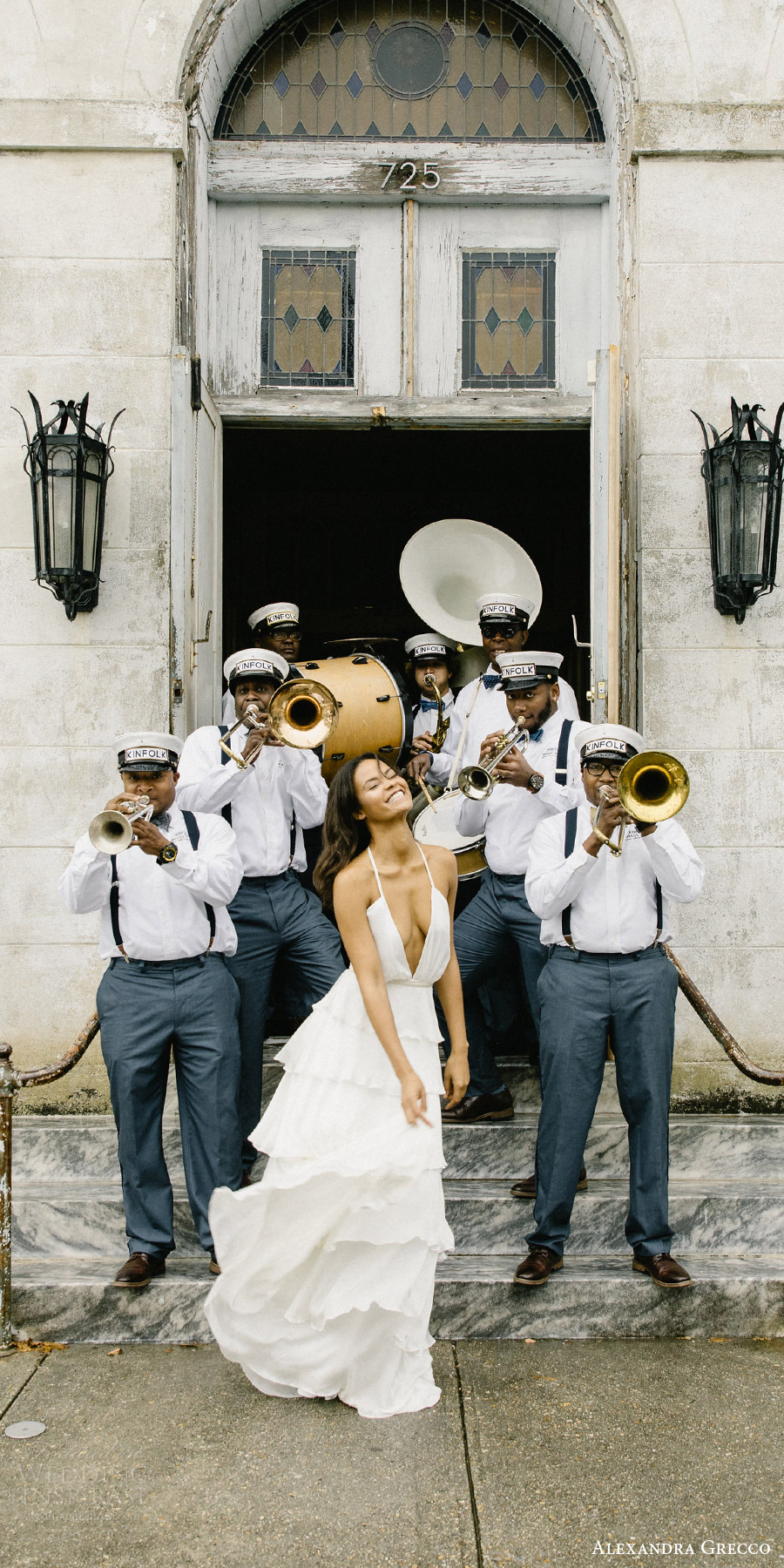 alexandra grecco fall 2017 bridal self tie spaghetti straps v neck tiered ruffle skirt column wedding dress (daphne) fv