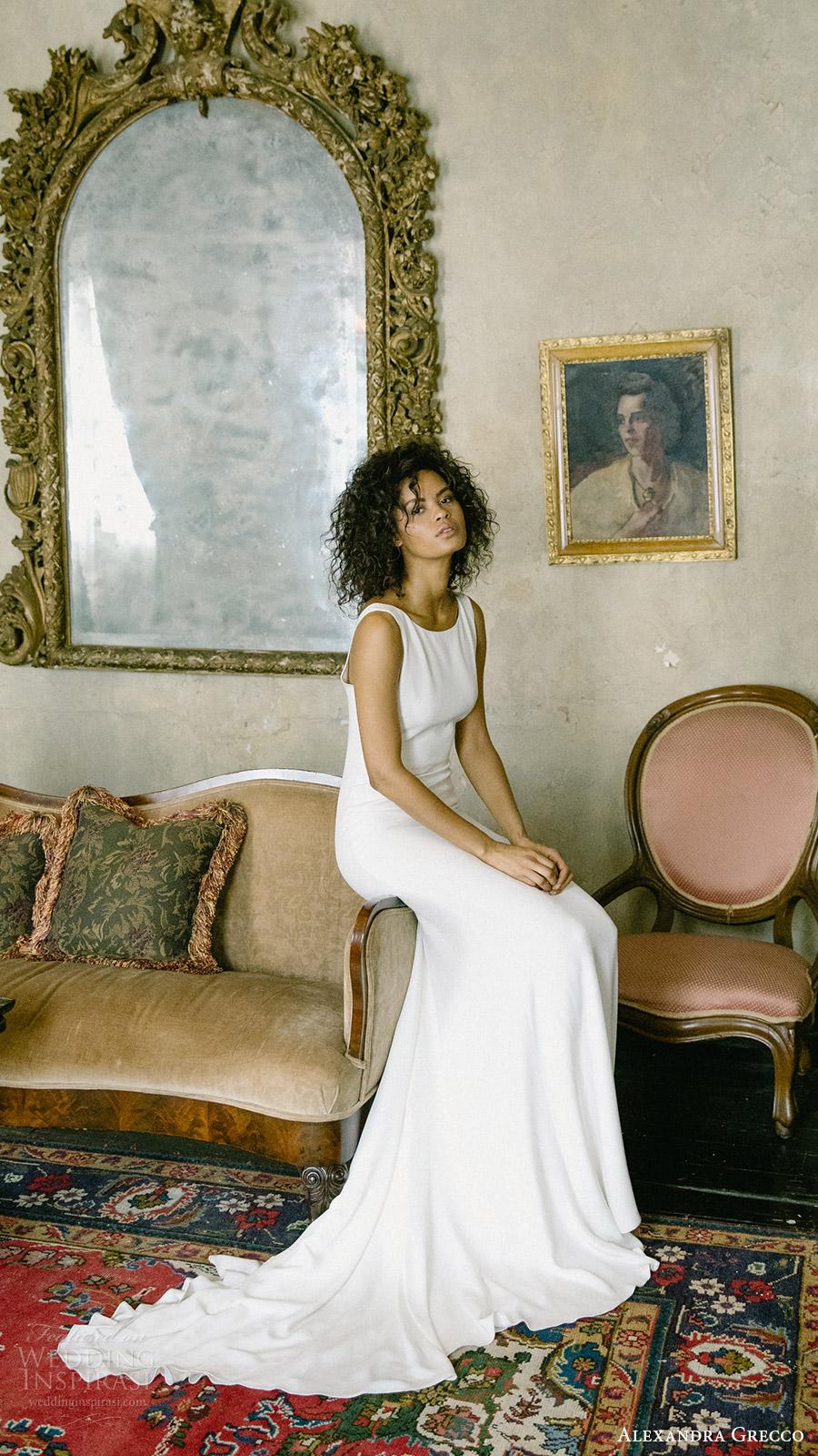 alexandra grecco fall 2017 bridal sleeveless bateau neck a line trumpet wedding dress (ava) unembellished mv