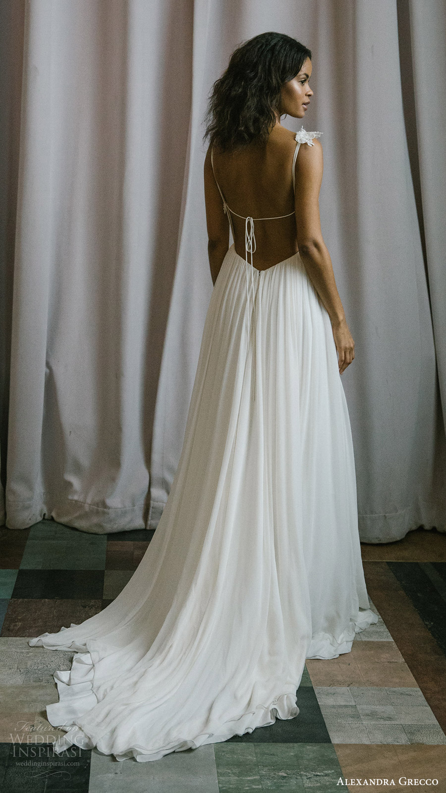 alexandra grecco fall 2017 bridal sleeveless lace straps sweetheart ruched bodice a line wedding dress (esme) bv train low back