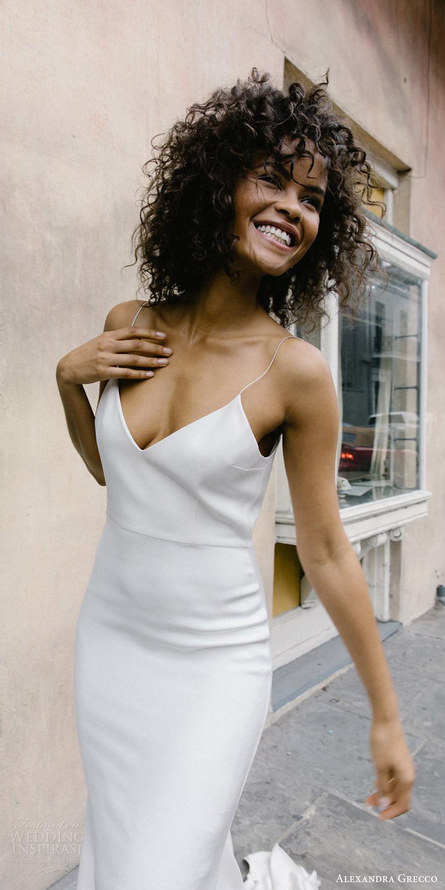 alexandra grecco fall 2017 bridal sleeveless spaghetti straps v neck trumpet wedding dress unembellished (lewis) mv train