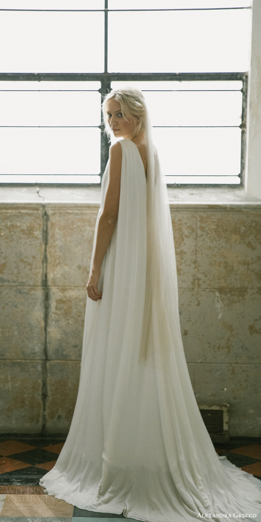 alexandra grecco fall 2017 bridal sleeveless straps v neck a line high low lace wedding dress (samanatha) bv train