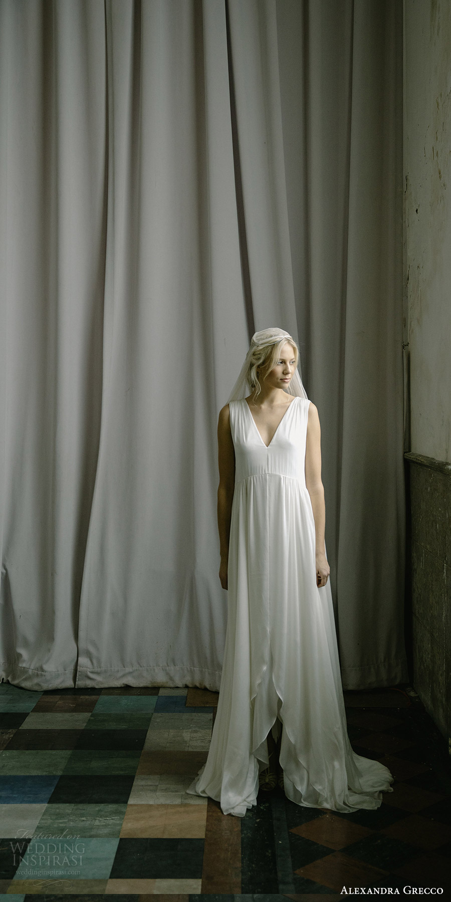 alexandra grecco fall 2017 bridal sleeveless straps v neck a line high low lace wedding dress (samantha) mv