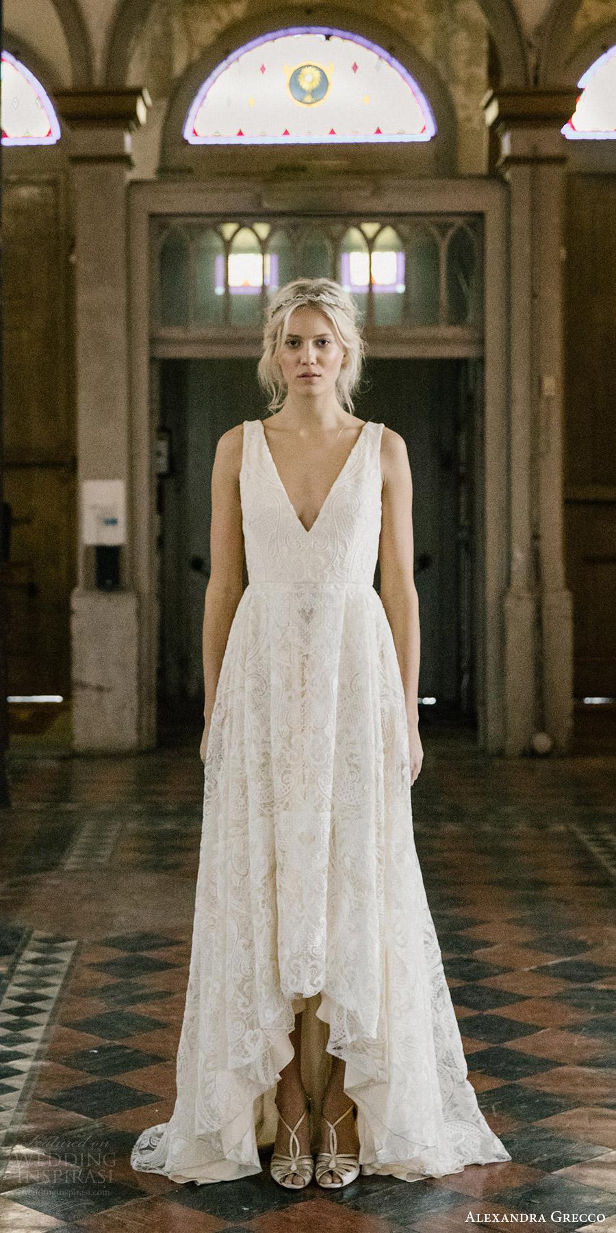 alexandra grecco fall 2017 bridal sleeveless straps v neck a line high low lace wedding dress (tahlula) mv