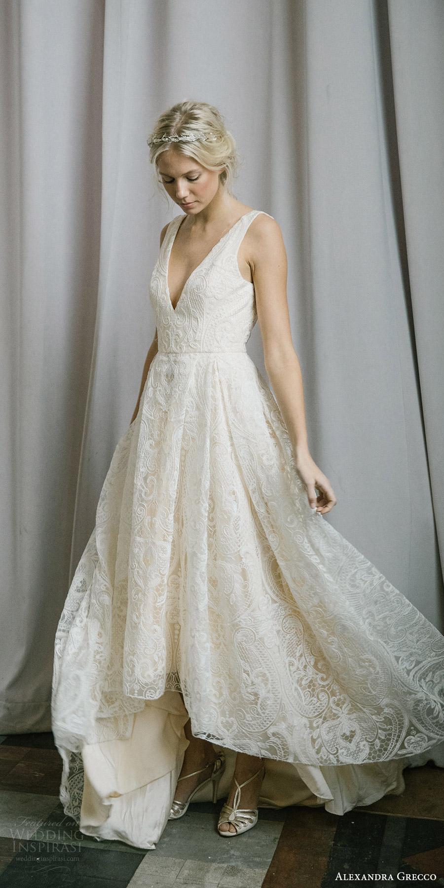 alexandra grecco fall 2017 bridal sleeveless straps v neck a line high low lace wedding dress (tahlula) sv