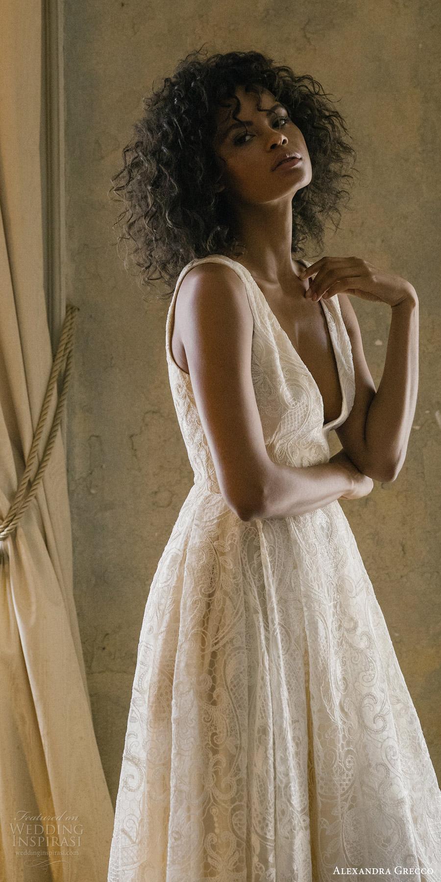 alexandra grecco fall 2017 bridal sleeveless straps v neck a line high low lace wedding dress (tahlula) zfv