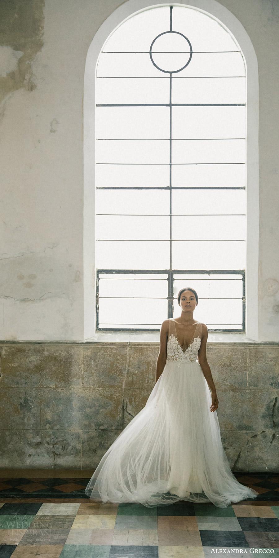 alexandra grecco fall 2017 bridal sleeveless vneck illusion sheer bodice a line wedding dress (isla) mv