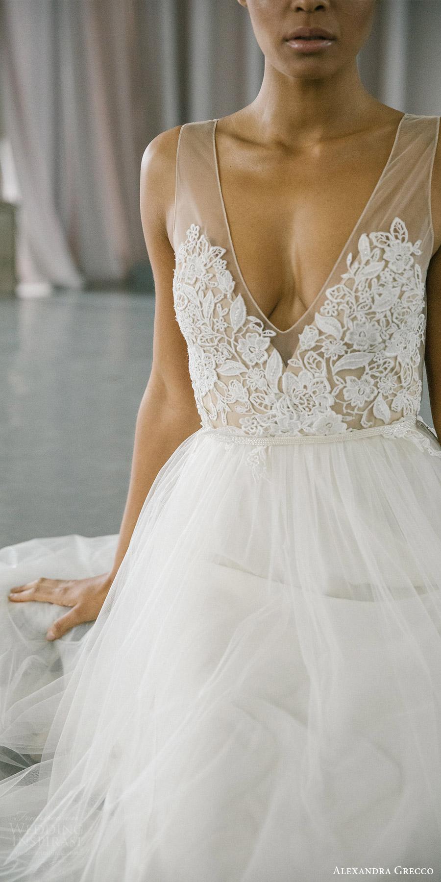 alexandra grecco fall 2017 bridal sleeveless vneck illusion sheer bodice a line wedding dress (isla) zfv