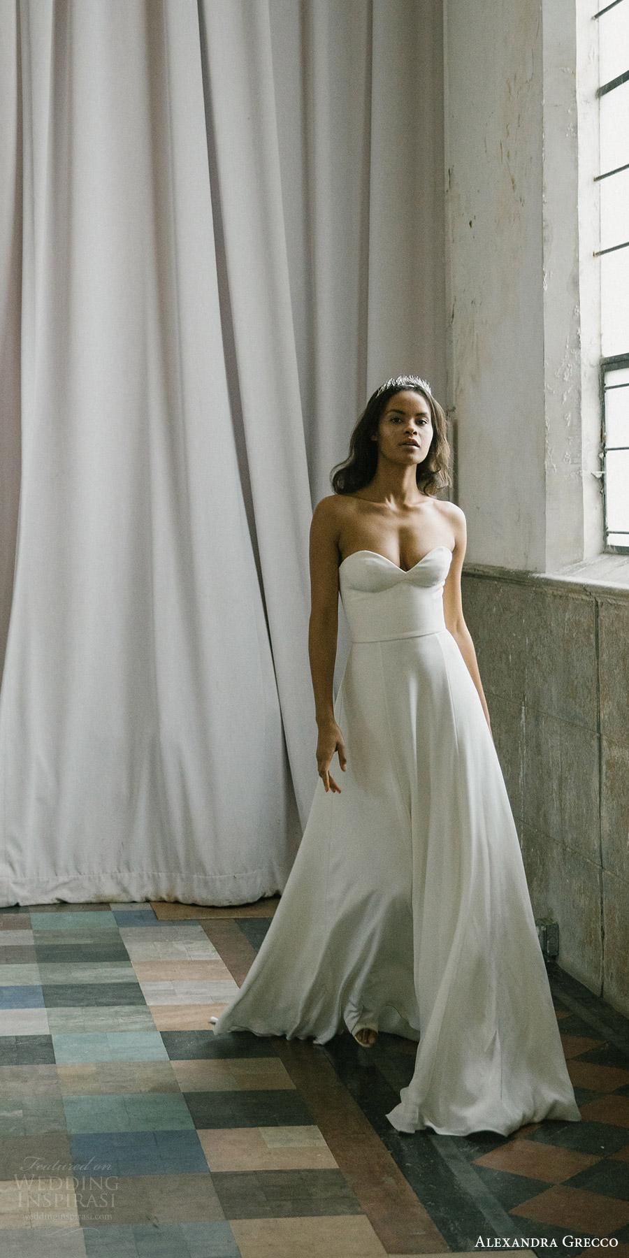 alexandra grecco fall 2017 bridal strapless sweetheart minimal embellishment a line wedding dress (emma) fv