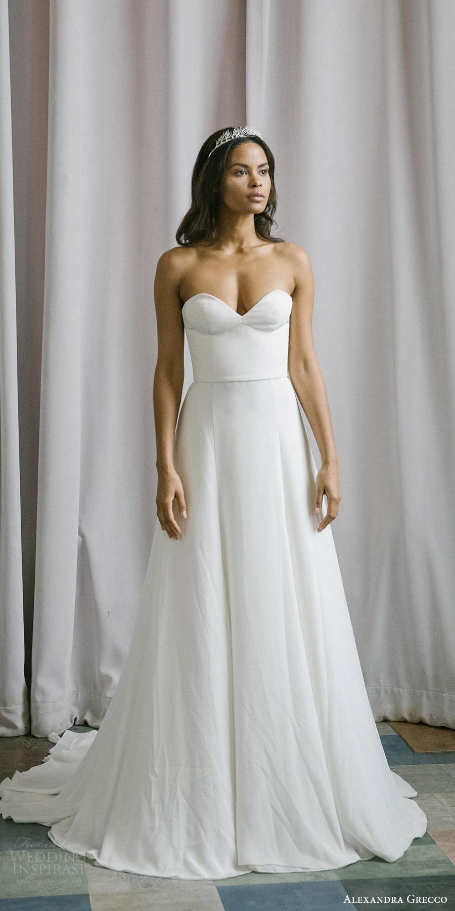 alexandra grecco fall 2017 bridal strapless sweetheart minimal embellishment a line wedding dress (emma) mv