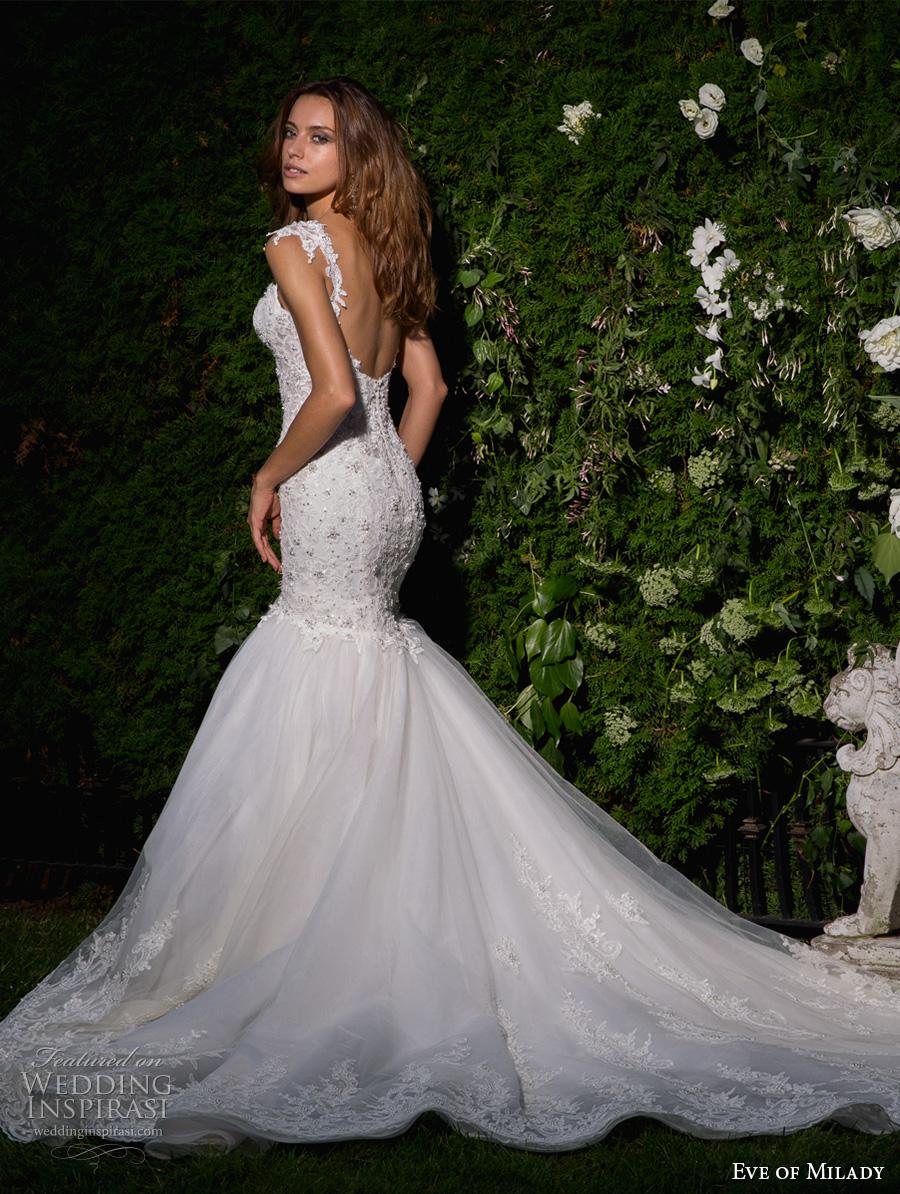 eve of milady spring 2017 bridal cap sleeves sweetheart neckline heavily embellished bodice glamorous elegant mermaid wedding dress open scoop back chapel train (1588) bv