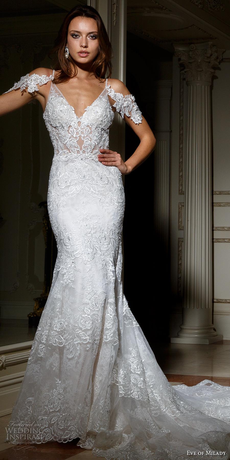 eve of milady spring 2017 bridal off the shoulder thin strap v neck full embellishment elegant fit and flare wedding dress open back chapel train (1586) mv