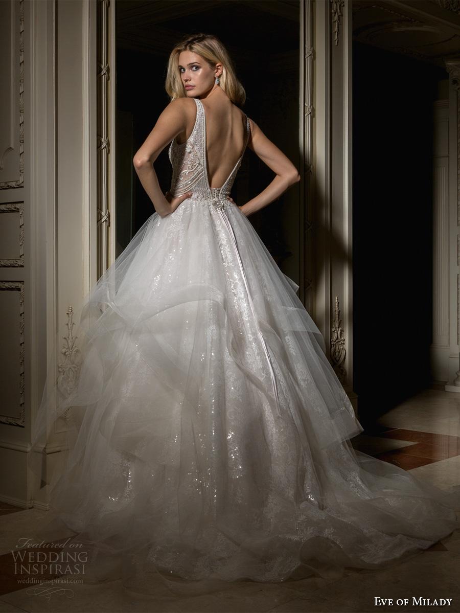 eve of milady spring 2017 bridal sleeveless deep v neck full embellishement layered skirt princess glamorous ball gown wedding dress open v back chapel train (1583) bv
