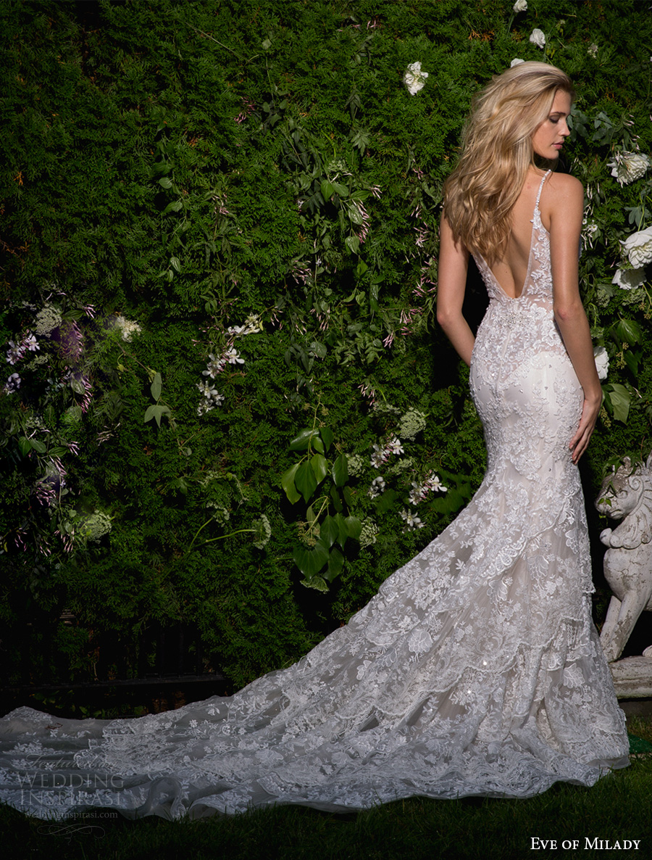 eve of milady spring 2017 bridal sleeveless deep v neck full embellishment elegant fit and flare wedding dress open scoop back chapel train (1584) bv