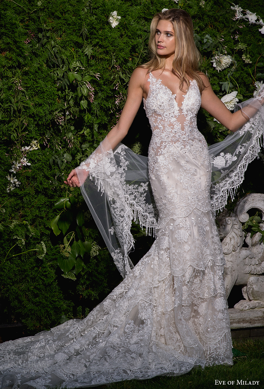 eve of milady spring 2017 bridal sleeveless deep v neck full embellishment elegant fit and flare wedding dress open scoop back chapel train (1584) mv