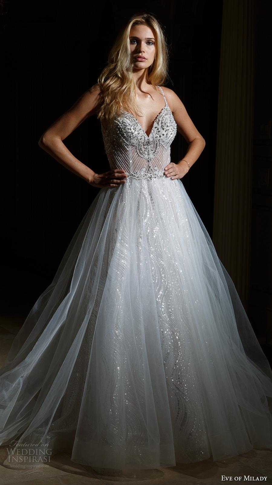 eve of milady spring 2017 bridal spagetti strap sweetheart neckline heavily embellished bodice busiter tulle skirt princess glamorous a  line wedding dress chapel train (4360) mv